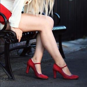 Vintage Marc Jacobs Mary Jane Heels in Red Suede